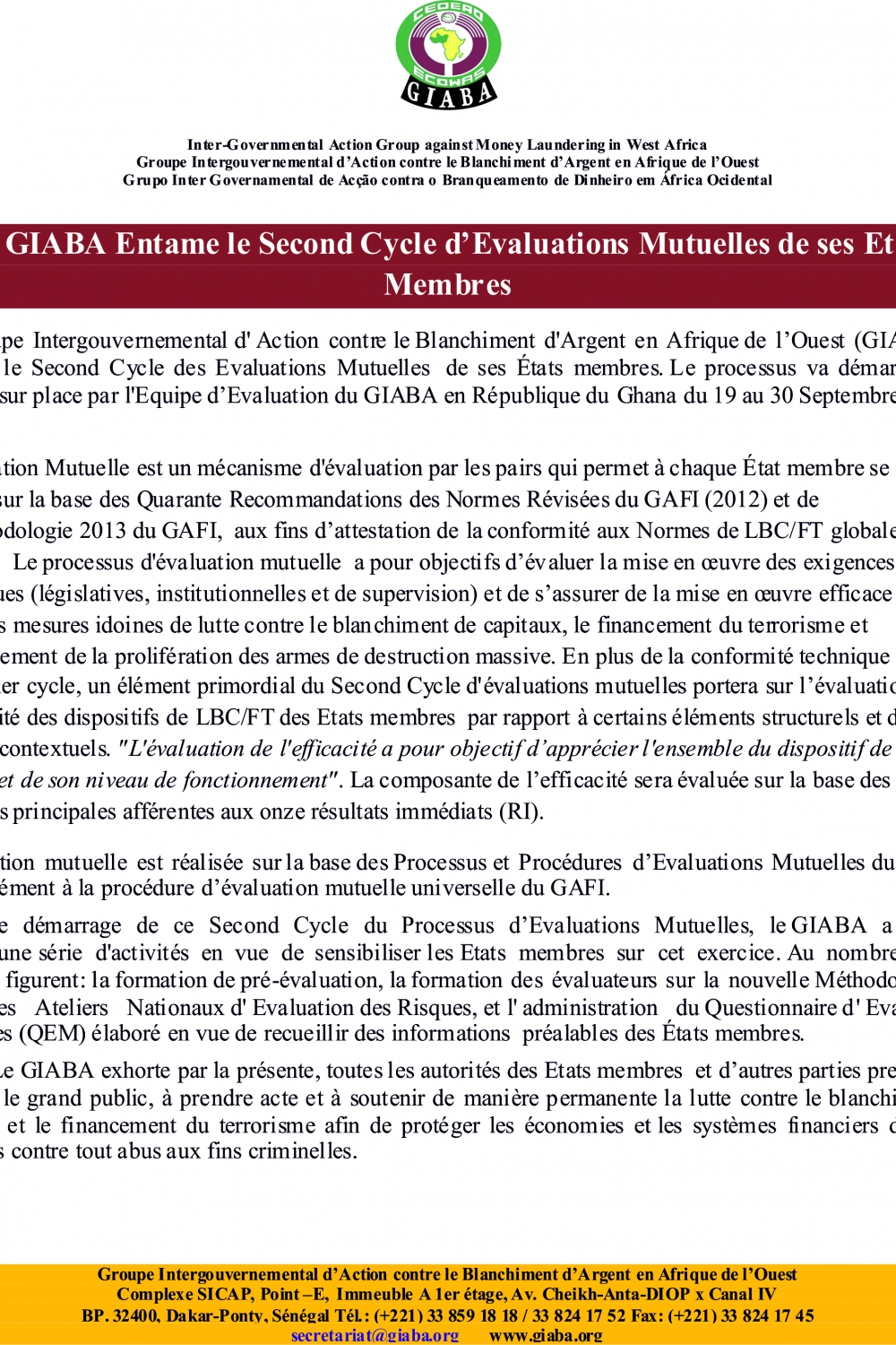 LE GIABA ENTAME LE 2 EME CYCLE D'EVALUATION